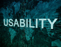 Usability. Text concept on green digital world map background Royalty Free Stock Photos