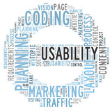 Usability word cloud Stock Photos