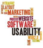 Usability word cloud. On white background Royalty Free Stock Photo