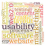 Usability word cloud. On white background Stock Photo