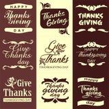Thanksgiving day typography set. Labels, logo, text design. stock illustration