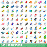 100 usable icons set, isometric 3d style. 100 usable icons set in isometric 3d style for any design vector illustration Stock Images