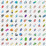 100 usable icons set, isometric 3d style Royalty Free Stock Photo