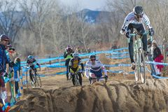 2014 USAC Cyclocross Nationals. Scott Chapin heads into the 'sand pit' during the 2014 Cyclocross Nationals in Boulder, CO Royalty Free Stock Image