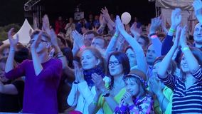 Usadba Jazz Festival. MOSCOW - JUNE 14: People cheering at open-air concert on XI International Jazz Festival Usadba Jazz in Archangelskoye Museum-Mansion on stock video