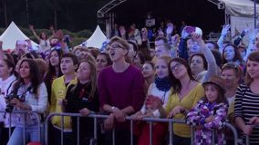 Usadba Jazz Festival. MOSCOW - JUNE 14: People cheering at open-air concert on XI International Jazz Festival Usadba Jazz in Archangelskoye Museum-Mansion on stock footage