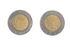 Usado 500 liras italianas Foto de Stock