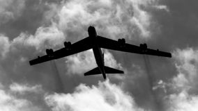 USAF B52 bomber Flying Fortress. United States Air Force USAF B52 bomber Flying Fortress on an intercontinental show of force training mission.  Black and white stock photography