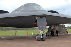 The USAF B2 Spirit nuclear Stealth Bomber. This superb piece of stealth engineering is guarded day and night. The secret composite particles in its `skin` stock photo