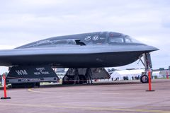 The USAF B2 Spirit nuclear Stealth Bomber. This superb piece of stealth engineering is guarded day and night. The secret composite particles in its `skin` stock photos