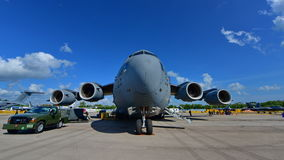 USAF Boeing C17 Globemaster on display at Singapore Airshow Royalty Free Stock Photo