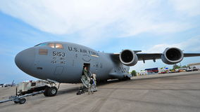 USAF Boeing C-17 Globemaster III large military transport aircraft on display at Singapore Airshow Royalty Free Stock Photo