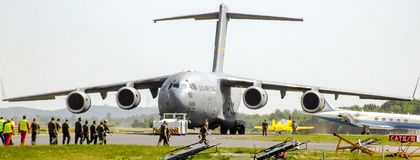 USAF Boeing C-17 Globemaster III preparing for taxiing during ILA 2008 air show. Boeing C-17 Globemaster III, large military transport aircraft, preparing for Stock Image