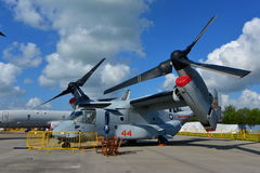 USAF Boeing V-22 Osprey tilt rotor aircraft on display at Singapore Airshow. SINGAPORE - FEBRUARY 16: USAF Boeing V-22 Osprey tilt rotor aircraft on display at Stock Photo
