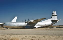 USAF Douglas C-133AQ cargomaster at Mojave. United States Air Force Douglas Aircraft C-133A Cargomaster at Mojave Airport KMHV on September 28, 1984 stock images