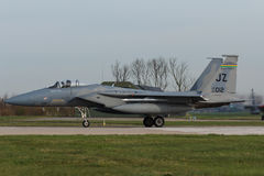 USAF F-15 Eagle during the Frisian Flag exercise. An F-15 of the 159thfighter wing preparing for take off at Leeuwarden AB in the Netherlands royalty free stock photos
