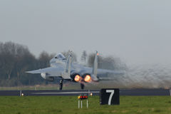 USAF F-15 Eagle taking off during the Frisian Flag exercise Stock Photography