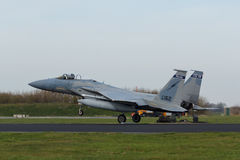 USAF F-15 Eagle touching down at Frisian Flag exercise Stock Photos