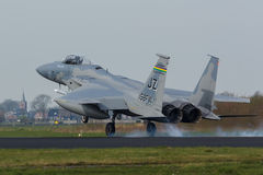 USAF F-15 Eagle touching down during the Frisian Flag exercise Royalty Free Stock Photography