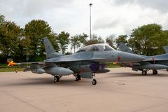 USAF F16 fighter jet aircraft. LEEUWARDEN, NETHERLANDS - SEP 17, 2011: United States Air Force F-16 fighter jet plane, based in Aviano, on the tarmac of stock photo