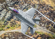 USAF F-35A Lightning II F35. Lockheed Martin USAF F-35A / F35 Lightning II first time low level in the Mach Loop this week 2nd May 2017 Stock Photography