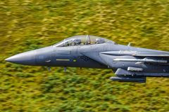 USAF F15 `strike eagle` low fly Wales, UK stock photos