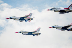 USAF F-16 Thunderbirds in Formation Stock Photo