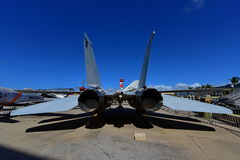 USAF F-14 Tomcat fighter jet on display at Pearl Habor Pacific Aviation Museum. OAHU - NOVEMBER 19: USAF F-14 Tomcat fighter jet on display at Pearl Habor stock photography