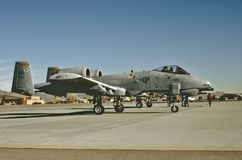 USAF Fairchild Republic A-10A at Nellis AFB, Las Vegas, Vevada. United States Air Force Fairchild Republic A-10A at Nellis AFB KLSV , Las Vegas, Nevada. Taken on royalty free stock images