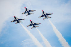 USAF Fighter Planes in Diamond Formation. San Antonio, Texas - October, 31: United States Air Force F-16 Thunderbirds flying in diamond formation royalty free stock photo