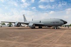 USAF KC-135 Stratotanker tanker plane. FAIRFORD, UK - JUL 13, 2018: US Air Force RAF Mildenhall based Boeing KC-135 Stratotanker tanker plane of the 100th ARW on royalty free stock images