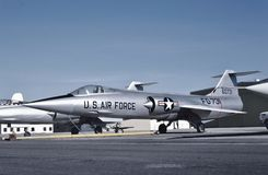 USAF Lockheed F-104A 56-0731 at Palmdale in 1956. USAF Lockheed F-104A 56-0731 CN 183-1019 at Palmdale Airport, California KPMD ion April 2, 1956. Later this day royalty free stock photography