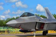 USAF Lockheed Martin F22 ptak drapieżny na pokazie przy Singapur Airshow Obrazy Stock