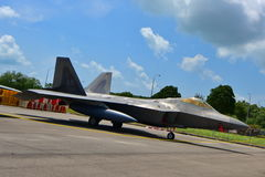USAF Lockheed Martin F-22 Raptor on display at Singapore Airshow royalty free stock photos