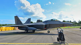 USAF Lockheed Martin F22 Raptor on display at Singapore Airshow Stock Photo