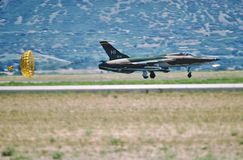 USAF Republic F-105B landing at Hill AFB, Utah in 1980. United States Air Force Republic Aircraft Company F-105B Thunderchief 57-5814 CN B-51 of the 466 stock image