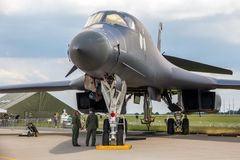 USAF Rockwell B-1 Bomber airplane. BERLIN, GERMANY - JUNE 2, 2016: US Air Force strategic bomber B-1B Lancer on display at the Exhibition ILA Berlin Air Show stock photography