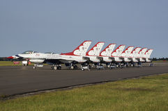 USAF Thunderbird Display Team. USAF Thunderbird F-16 jets parked on runway at RAF Waddington, UK after their air display Stock Image