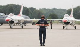 USAF Thunderbird ground team royalty free stock photos
