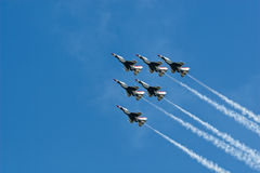 USAF Thunderbirds. Thunderbirds in F-16's perform at an air show royalty free stock images