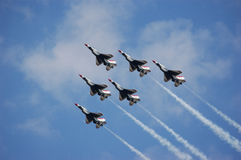 USAF Thunderbirds. Six thunderbirds in tight formation stock photo