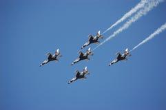 USAF Thunderbirds. A cross formation of 5 of the Thunderbirds stock photos