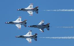 USAF Thunderbirds diamond formation. Wantagh, New York, USA - 24 May 2019: The United States Air Force Thunderbirds in diamond formation at a free practice round royalty free stock images