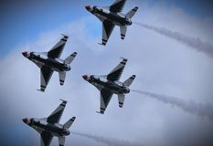 USAF Thunderbirds. F16 Fighting Falcon royalty free stock photo