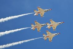 USAF Thunderbirds flying in formation Stock Image