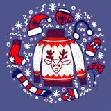 Usage de Noël de griffonnage : chaussette pour les cadeaux, le chapeau, les mitaines et le chandail avec le renne photographie stock