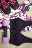 Usage de sport du ` s de femmes et accessoires d'haltère, de sport et mode Photo libre de droits