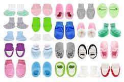 Usage du ` s d'enfants - ensemble de chaussures de bébé nouveau-nées du ` s d'enfant Images stock
