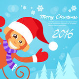 Usage heureux Santa Hat New Year Sign de sourire de singe Photographie stock libre de droits