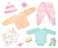 Usage infantile d'habillement de bébé d'isolement sur le blanc Photo stock